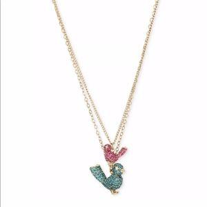 Betsey Johnson Embellished Bird Pendant Necklace